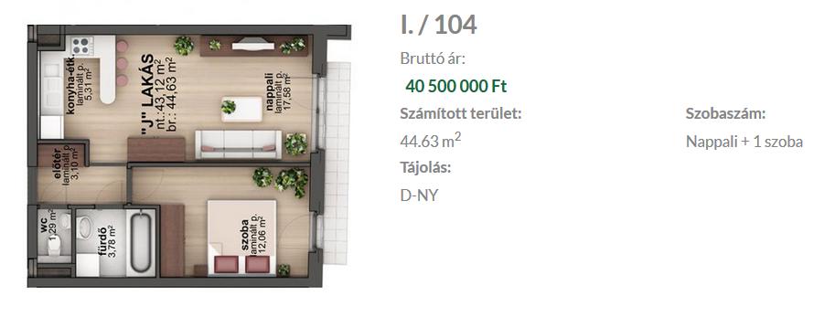 Bíró Lajos utca 40.5MFt - 45 m2eladó Új építésű lakás Budapest 8. kerület