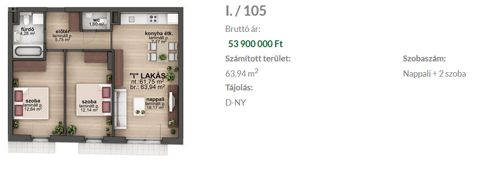 Bíró Lajos utca 53.9MFt - 62 m2eladó Új építésű lakás Budapest 8. kerület