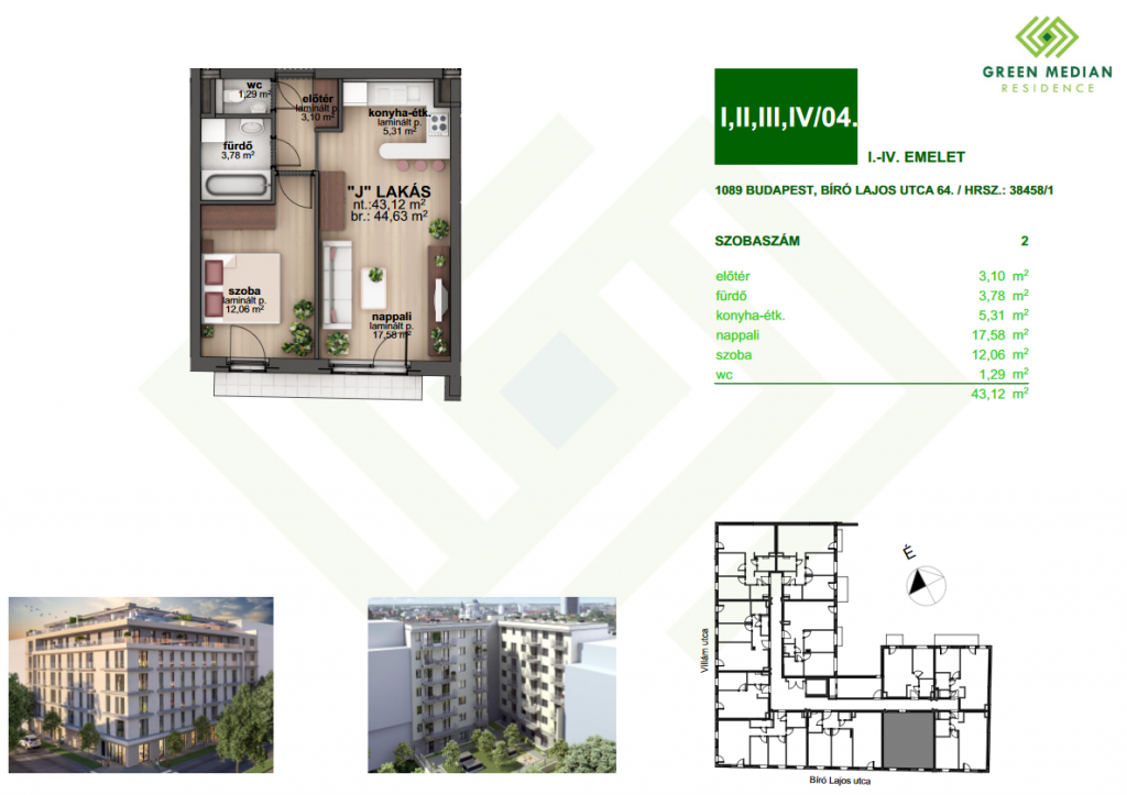 Bíró Lajos utca 40.9MFt - 45 m2eladó Új építésű lakás Budapest 8. kerület