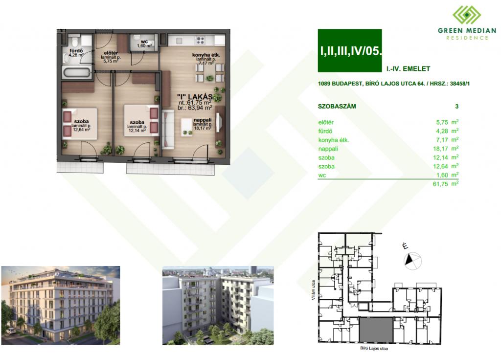 Bíró Lajos utca 54.9MFt - 64 m2eladó Új építésű lakás Budapest 8. kerület