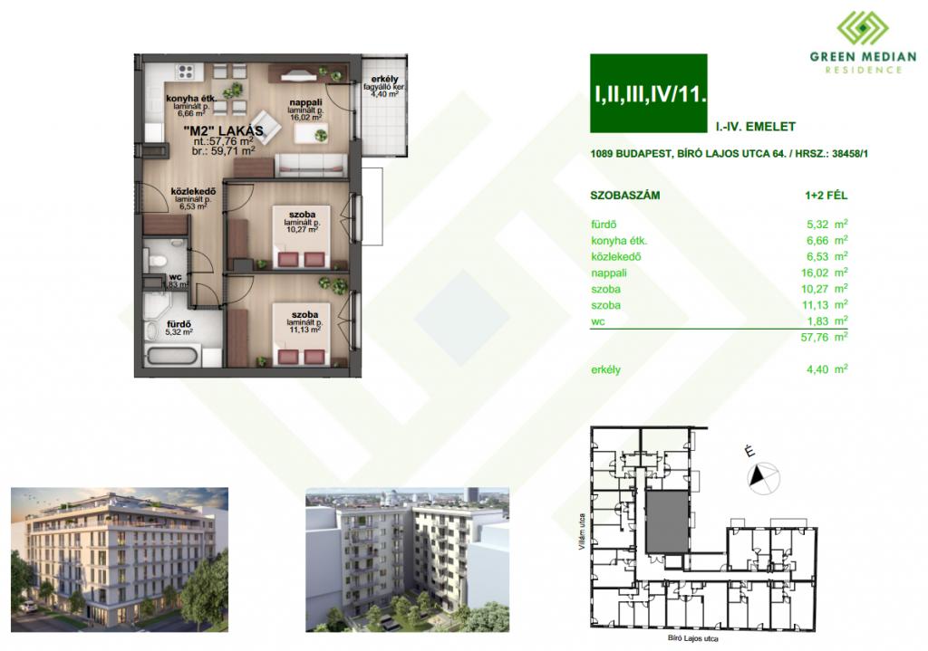 Bíró Lajos utca 51.9MFt - 60 m2eladó Új építésű lakás Budapest 8. kerület