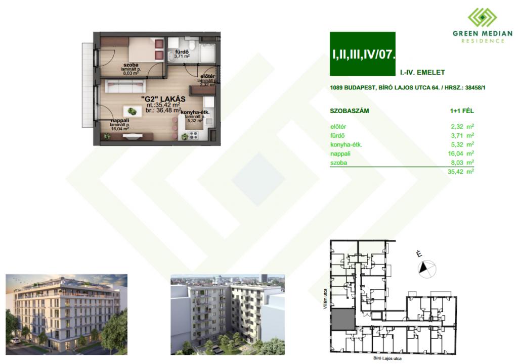 Bíró Lajos utca 39.6MFt - 36 m2eladó Új építésű lakás Budapest 8. kerület