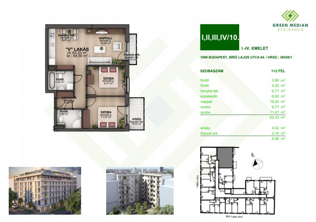 Bíró Lajos utca 58.2MFt - 65 m2eladó Új építésű lakás Budapest 8. kerület