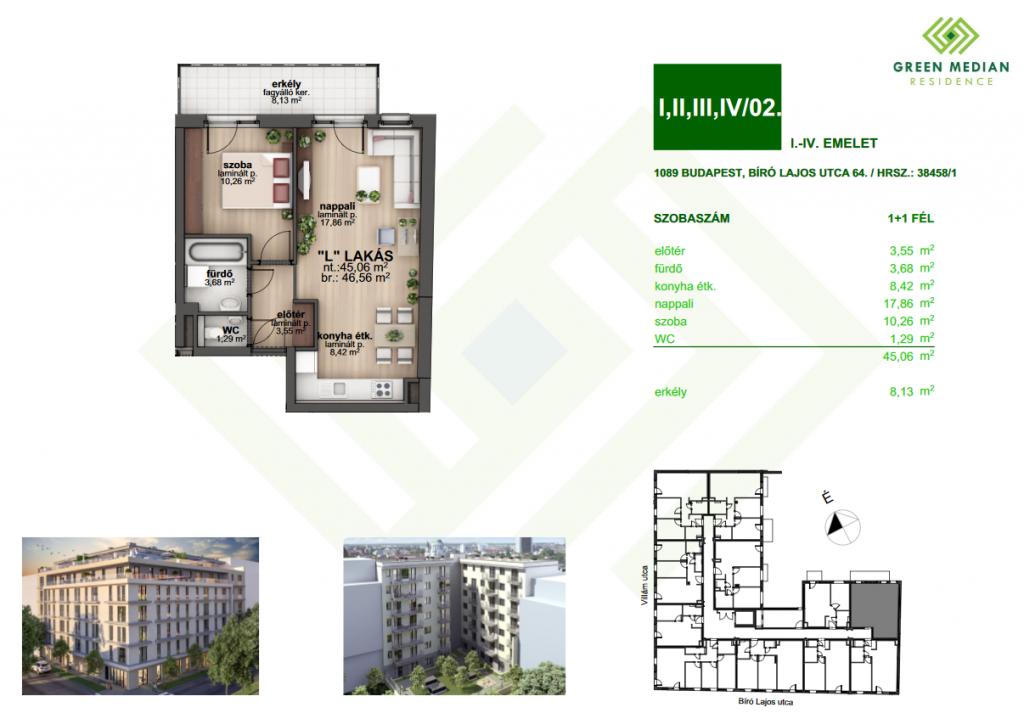 Bíró Lajos utca 45MFt - 47 m2eladó Új építésű lakás Budapest 8. kerület