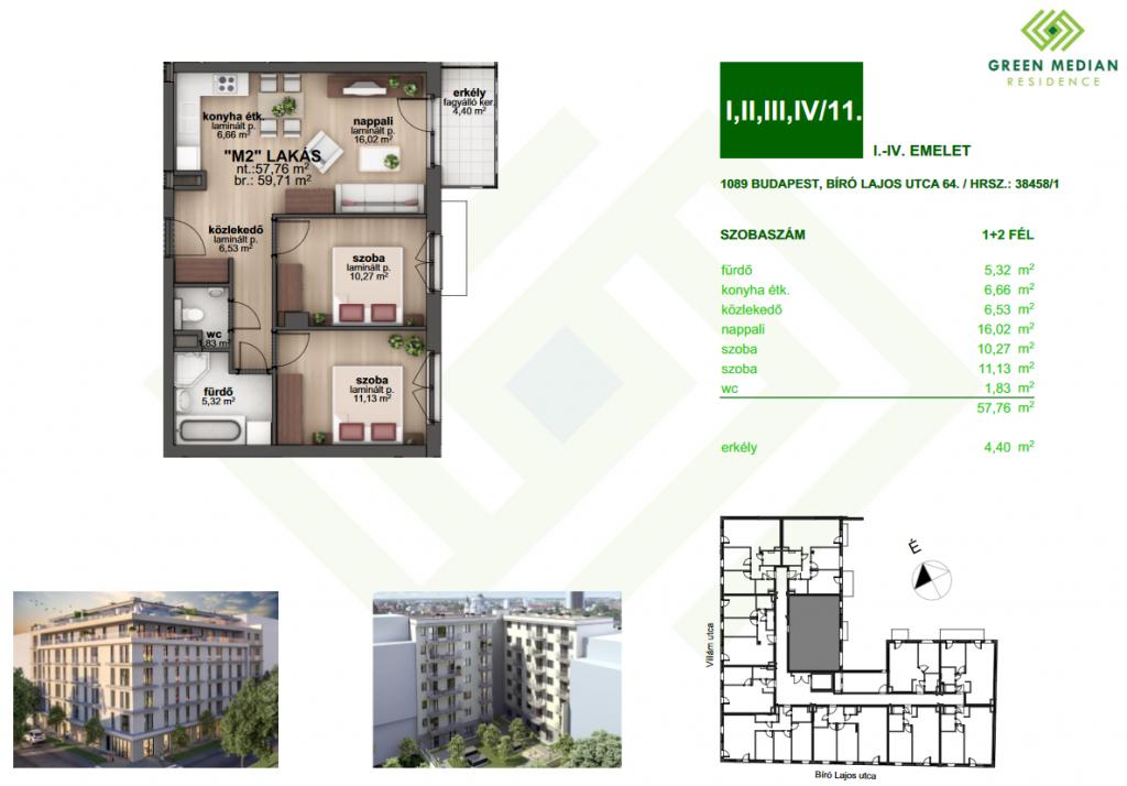 Bíró Lajos utca 54.3MFt - 60 m2eladó Új építésű lakás Budapest 8. kerület